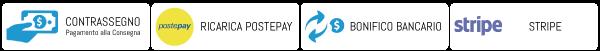 Pagamenti Con tutte le Carte di Credito, Bonifico e Contrassegno
